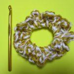 100均極太毛糸で簡単シュシュ 見た目もかわいい2色使い!